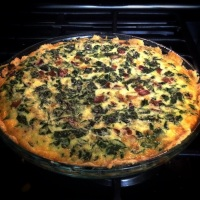 Bacon Gruyere and Collard Greens Quiche