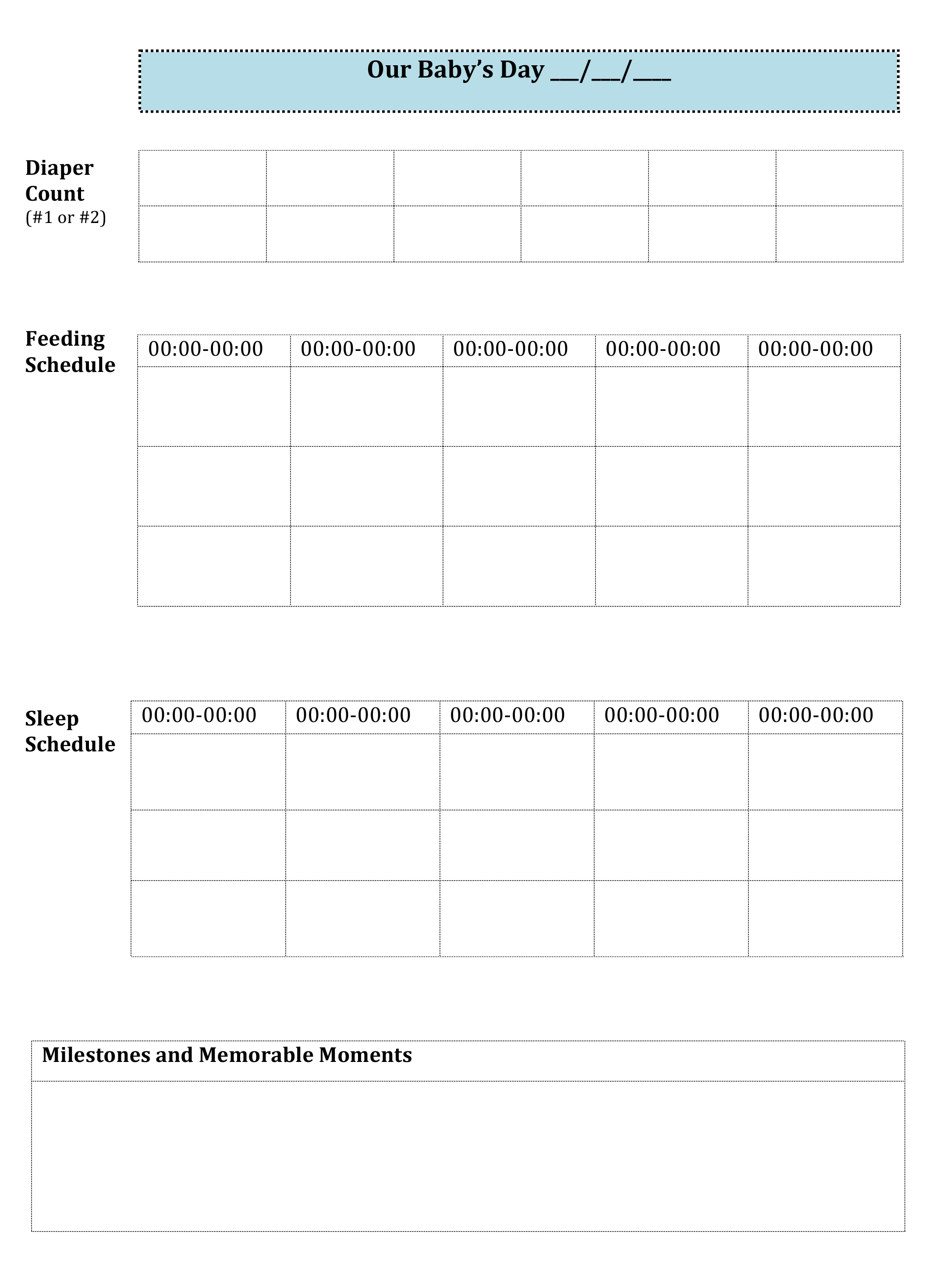 graphic about Printable Baby Schedule identify Little one Monitoring Printable, \u201cOur Babys Working day\u201d Spectacular